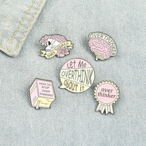 Pink Creative Brain Enamel Pins Colors Fashion Romantic Character Badge Book Skeleton Brooches For Friend Gift