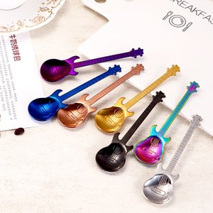 Guitar Shape Spoons Dessert Snack Originality Stainless Steel Kitchen Accessories Coffee Music Stir Spoon Gold Silver Plated 3 9nr M2