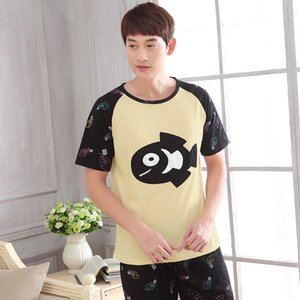 Men new cute cartoon cotton thin men's youth 2019 summer leisure home two piece sets pajama pajamas Q1202