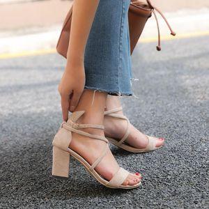 Women Sandals 2020 Summer High Heel Sandals Block Heels Shoes Women Fashion Causal Single Belt Buckle Roman Square Heel