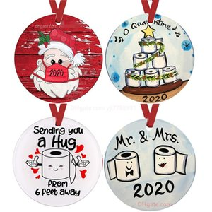 2020 Mask Ornament DIY Snowman Toilet Paper Pendant Christmas Tree Pendant Christmas Decoration Christmas Gift Ornament dhl ship