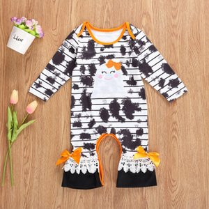 Imcute Newborn Baby Girls Halloween Jumpsuits, Round Neck Long Sleeve Tie Dye Cartoon Long Romper Overall Clothes