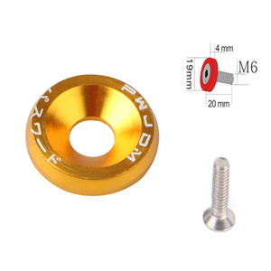10pcs Gold Aluminum JDM Fender Washers and M6 Bolt Car Modified Hex Fasteners Fender Washer Bumper Engine Concave Screws