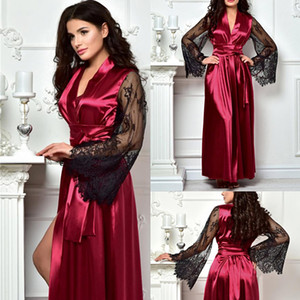 Chic Satin Silk Night Robes Women Lace Appliques Long Sleeve Photoshoot Dress Both Robe Formal Event Overlay Sleepwear