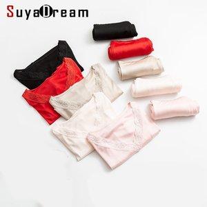SuyaDream Женщины осень зима длинные Джонс шелковый кружева V шеи твердое тепловое белье LJ201008