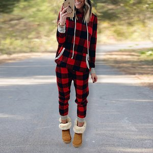 Women Plaid Printing Tracksuit Long Sleeve Hoodies Sweater +Loose Pants Two-piece Clothing Hooded Tops Casual Home Clothes wear E120301