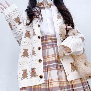 Harajuku Japanese Cute Bear Knit Cardigan Sweater Women Spring Loose Kawaii Jacket 2020 New Oversize Ladies Sweaters Mujer