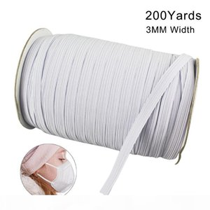 In Stock 200 Yards Length 0.12Inch Width Braided Elastic Band Cord Knit Band for Sewing DIY Mask Bedspread Elastic