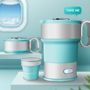 220V Portable Electric Kettle Folding Travel Silicone Kettle Camping Water Boiler Home Automatic Power Off
