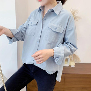 New Cotton Shirts for Women Loose Korean-Style Double Pockets All-match Causel Blouse Retro Loose Coat Spring Autumn Female Tops