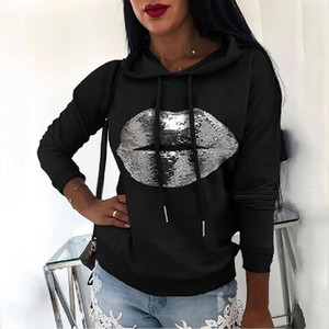 Autumn Women Lip Print Hooded Sweatshirt Casual Loose Drawstring Pullover Tops 2021 Elegant Female Long Sleeve Hoodie Streetwear