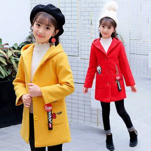 Новые девочки шерстяные пальто новая осень стеганая мягкая детская длинная секция красивое пальто в большом мальчике Woolen 201110
