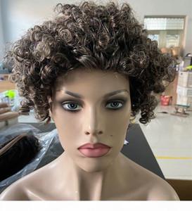 Fashion Grey Dei Capelli Umani Parrucca Breve Due tonalità argento misto grigio morbido sale e pepe Afro Kinky parrucca di non pizzo riccia