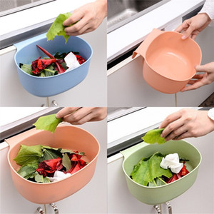 Puerta de plástico colgando bastones de basura de color sólido Basura sin cola de Cocina Cocina Cocina Cuarto de baño Dormitorio Cesta de residuos Removible 1 29QH G2