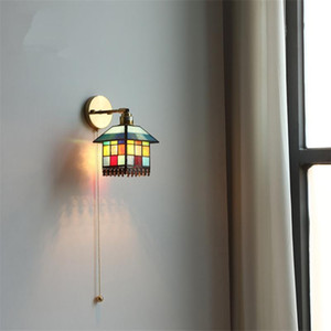 Quarto Children Salmado Puxe Lâmpadas De Parede De Fio Quarto Bedside Arte Decoração Iluminação Corredor Corredor Staircase Wall Lights