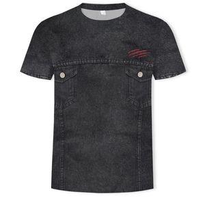 Direct Deal Explosive Money Jean Legging Printing Man Round Collar Short Sleeve Fashion T-shirt