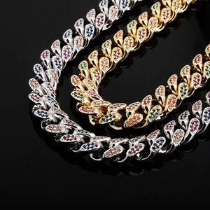 14mm Rainbow Link Chains European and American Style Colorful Cubic Zirconia Miami Bling Hiphop Diamond Necklaces Cool Mens Gold Chain