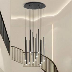 Moderna escalera Luces de araña Nordic Villa Sala de estar Lámparas colgantes Rotating Stairwell Gold / Black LED LED Lighting Lighting