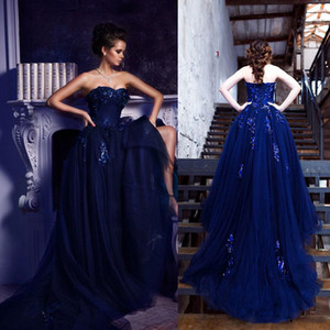 Navy Blue A Line Tulle Prom Dresses Sweetheart Appliques With Sequins And Crystal Bridal Dress Court Train Country Evening Dress