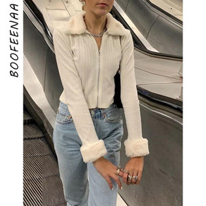 BOOFEENAA Fashion Women Knit Sweater Cardigan Sexy Fitted Faux Fur Turn Down Collar Zip Up Long Sleeve Crop Top Jacket C94-CC25