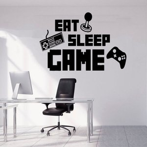Gamer Wall Decal Eat Sleep Game Controller Vinyl Wall Sticker Personalized Kids Bedroom Teenager Room Playroom Home Decor 1827