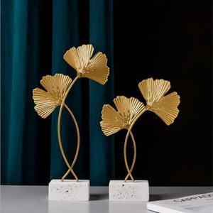 Golden Ginkgo Лист Модель Железный ТВ Шкаф Декор Листья Консоль Кабинета Оформление 201201