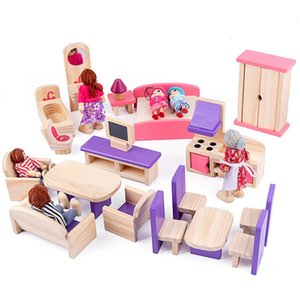 Miniature House Toy For Dolls Wooden Dollhouse Furniture Set Educational Pretend Play Toys Kids Girls Gifts 1019