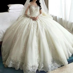 Hot Sale Dubai Crystal Flowers Ball Gown Dresses 2020 New Long Sleeve Muslim Lace Appliques Wedding Gowns Bridal Dress Q1110