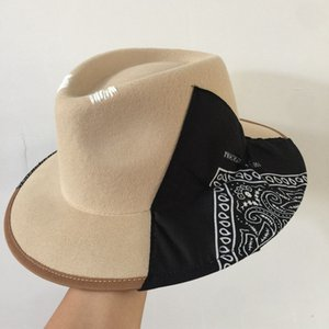 202008-naonao-Britain Silk scarf Geometric elements wool fedoras cap men women leisure holiday panamd jazzhat