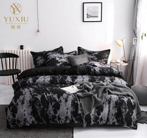 YUXIU clássico preto cor-de-rosa sólido impresso conjunto de cobertura de edredão conjunto de cama 3 pcs roupa de cama de cama de mármore colilas 200x200cm têxteis em casa