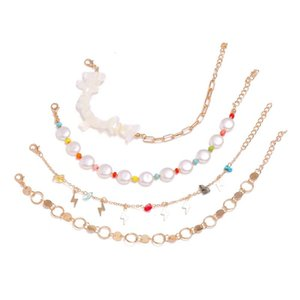 Modyle Layered White Shell Pendant Chain Ankle Bracelet on Leg Foot Jewelry Boho Charm Anklets for Women Accessories Mujer Metal