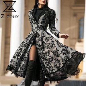 Z-ZOUX Women Trench Coat Lace Stitching Women Windbreaker Large Hem High Waist Women Overcoats Temperament Long Trench Autumn
