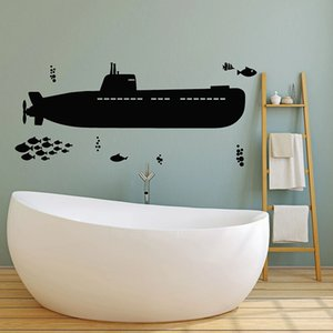 Submarine Wall Decal Sea Ship Style Undersea Fishes Vinyl Window Stickers Kids Bedroom Bathroom Home Decor Waterproof Mural 1823