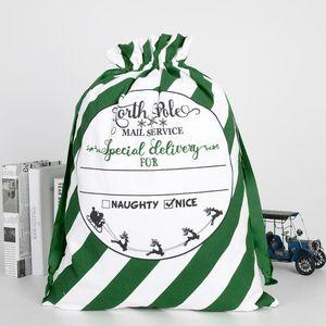 Новые зеленые полосы Santa Sacks могут смешивать цвета Santa Candy Bags Большое Рождество Santa Claus Bags FWD3195