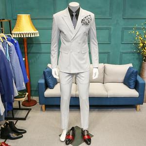 XM GEEKI 2020 Men Wedding Dresses Suits 3 piece Men's Slim Casual Suit Man White Stripe Suits Jackets Male Blazers Coat 365wt32