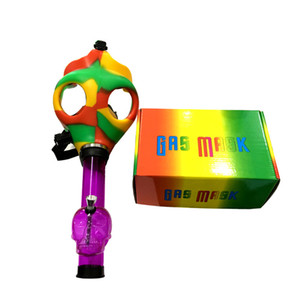 Wholesale Gas Mask Bong Both Glow in the Dark Water Shisha Acrylic Smoking Pipe Sillicone Mask Hookah Tobacco Tubes Free Shipping FY2374