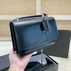 المربع الأصلي جودة عالية النساء رفرف من الجلد الأسود سلسلة حقيبة يد الموضة المتوسطة حقائب الكتف CROSSBODY