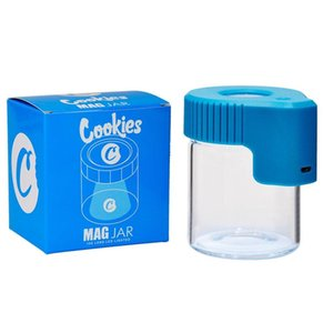 new Cookies LED Storage Jar with Magnifier Container 155ml Mag Jar Glowing Container Vacuum Bottle for Dry Herb Tobacco Glass Jar