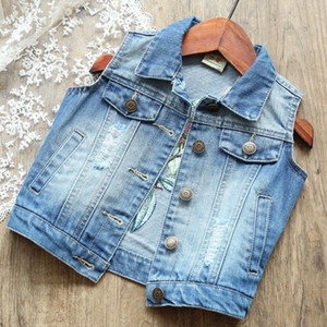 Children Girls Floral Denim Vests Fashion Kids Baby Butterfly Embroidered Jeans Coats Cotton Sleeveless Outerwear Jackets 1-8Y 201110