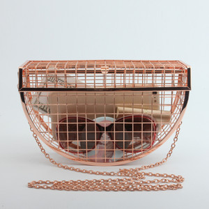 2020 new high quality Hollow Metal Cages Women Party Clutch Evening Shoulder Bag Ladies Handbag Messenger Bags Purse Unique Fashion Design