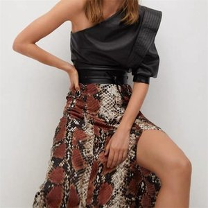 TRAF Women 2020 Chic Fashion Snake Pattern Pleated Print Midi Skirt Vintage High Waist Center Split Female Skirts Streetwear