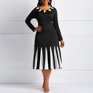 Kinikiss Black Spring Vintage Dress Color Block Winter Party Dress Patckwork1