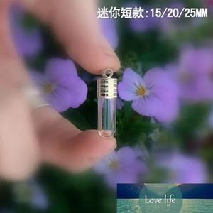 10X 15 20 25mm Tube glass Vial Pendant locket charm mini wish glass bottles with Tassel cap name on rice art jewelry making jars
