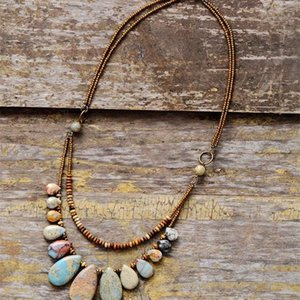 Chokers for Women Teardrop Natural Stones Seed Beads Short Statement Necklace Luxury Multilayers Jewelry Dropshipping Q1121