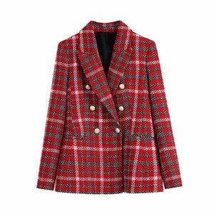 Vintage Women Red Plaid Blazer 2020 Fashion Ladies Double Breasted Jacket Causal Elegant Female Streetwear Woolen Coats