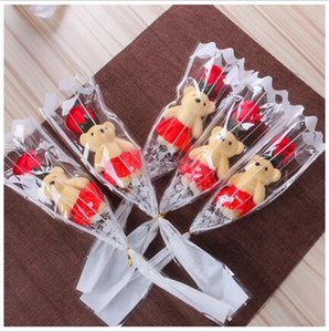 Одиночный медведь мыло цветка моделирования имитации искусственного цветка роза одиночная роза для дня Святого Валентина вечеринка одиночный букет подарок FFF3617