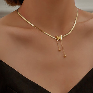 Luxury Stainless Steel Real Gold Color Butterfly Pendant Fashion Exquisite Snake Bone Chain Necklace for Women Girls Gift