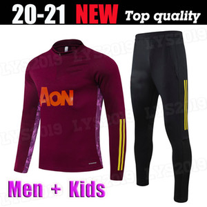 Hommes Kids Kit 2020 2021 Jujube Red Rashford Bruno Fernandes Training Wear Football Jersey Martial James Football JOGGing costume 20 21