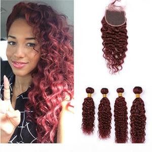Вино красные перуанские ткани мокрые и волнистые человеческие волосы 4 фундаментальные и замыкание # 99J бордовые наращивания волос девственницы с кружевной крышкой 4x4