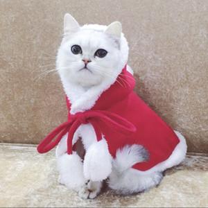 Christmas Puppy Cat Clothes Costumes Santa Hat Cloak Cape Puppy Velvet Xmas Warm Costume Outfit Pets Accessories